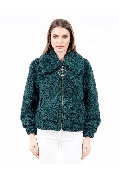 JAHR MARC Fermuarlı Yeşil Peluş Kadın Ceket