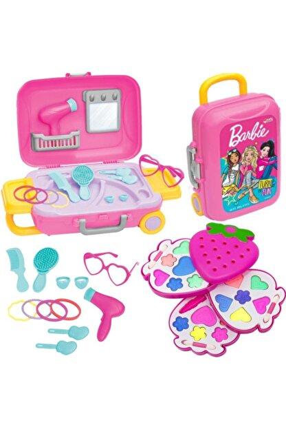 Depomiks Avm Barbie Oyuncak Güzellik Set Bavulum + Sürülebilir Çocuk 3'lü Çilek Makyaj Seti Depomiks