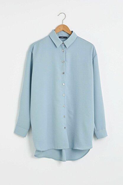 LC Waikiki Kadın Mavi Gömlek