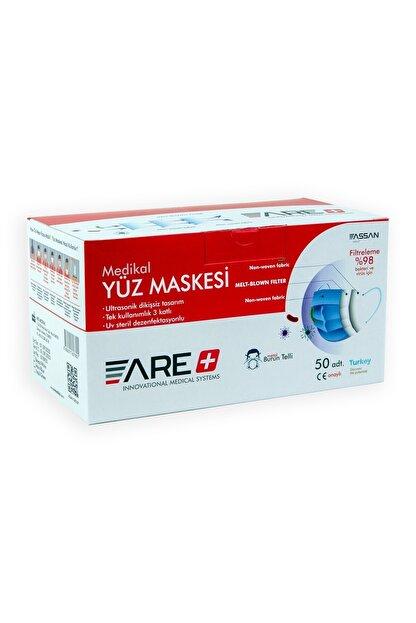 ARE 1 Kutu Beyaz Renk Cerrahi Yüz Maskesi Meltblown Filtreli