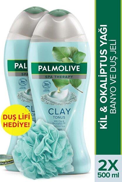 Palmolive Spa Therapy Clay Tonus Kil ve Gül Yağı Banyo ve Duş Jeli 500 ml x 2 Adet + Duş Lifi Hediye