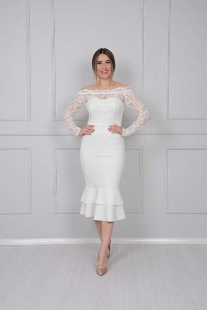 giyimmasalı Üst Güpür Alt Scuba Eteği Volanlı Elbise - Beyaz