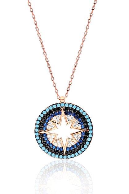 By Barun Silver Kadın 925 Ayar Gümüş  Renkli Yıldız Kolye - Rose
