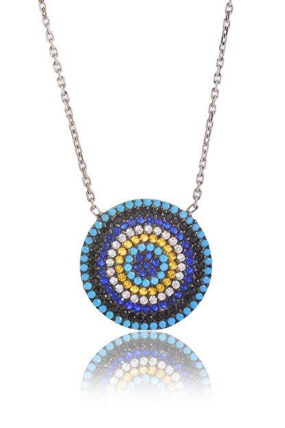 By Barun Silver Kadın Gümüş Rengi Mozaik Göz Gümüş Kolye