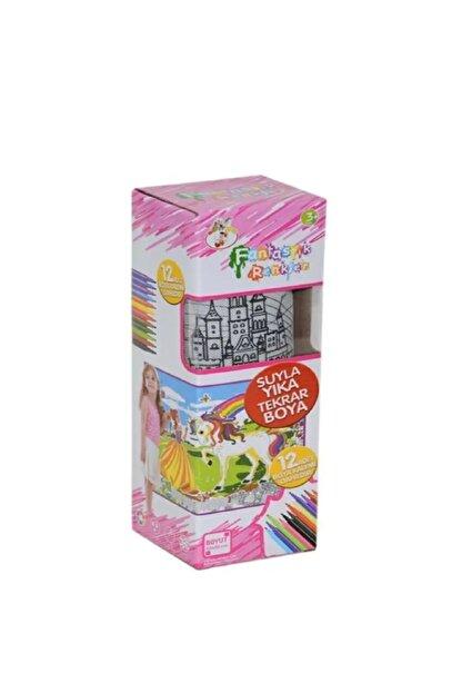 DEEMBRO Sihirli Boya Yıka Boyama Halısı 12 Kalem Hediyeli 50x50 Yeni Tasarım Unicorn