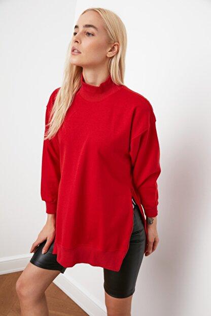 TRENDYOLMİLLA Kırmızı Uzun Oversize Örme Sweatshirt TWOAW20SW0322