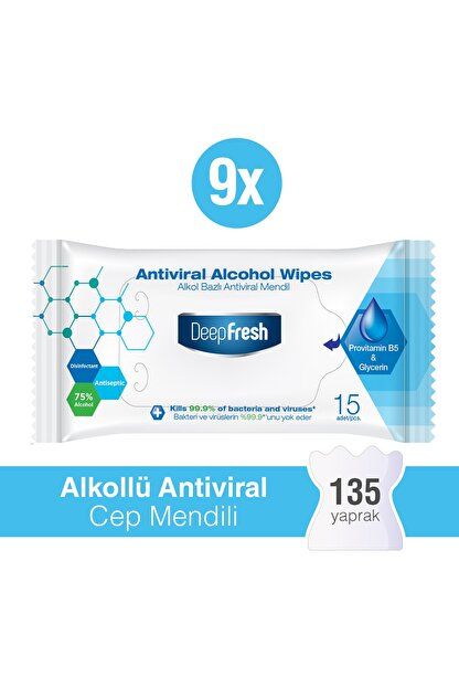 Deep Fresh Alkollü Antiviral Islak Cep Mendili 9'lu Paket 135 Yaprak