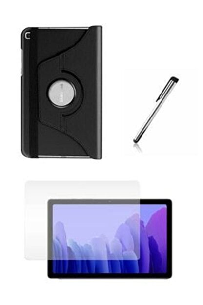 E TicaShop Samsung Galaxy Tab A7 Sm T500 T505 T507 Tablet Kılıfı Siyah Dönerli Seti 10,4 Inç Set