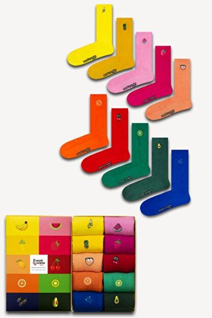 Neşeli Çoraplar Unisex Renkli 10'lu Nakışlı Soket Çorap Set