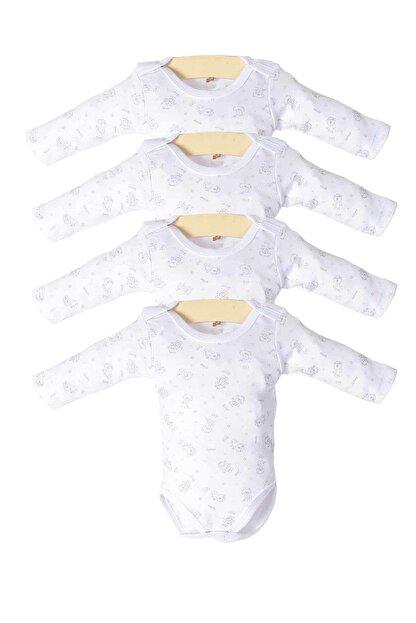 Pattaya Kids Kız Bebek Beyaz Çıtçıtlı Uzun Kollu 4'lü Zıbın Takımı Ptk20s-407