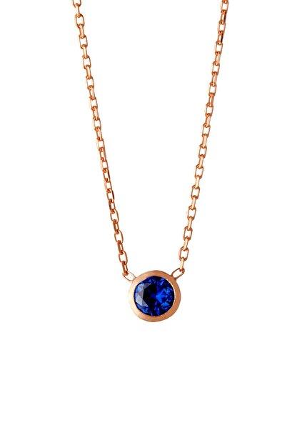Afrodit Silver Kadın Mavi Tektaş Tasarım Gümüş  Kolye