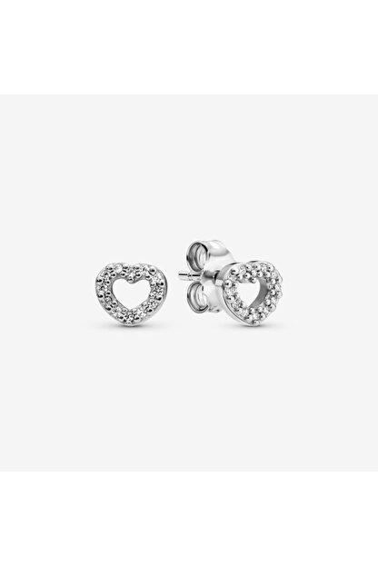 My Story Açık Kalp Çivili Gümüş Küpe