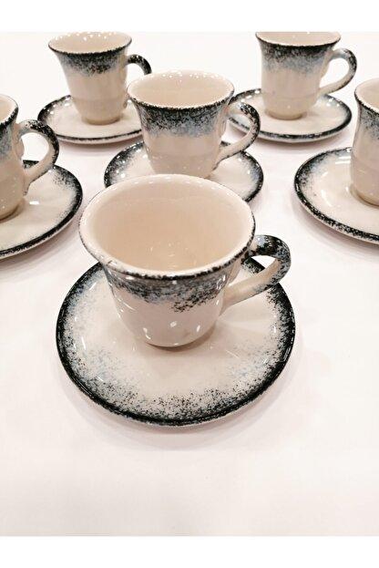 Gül Çini Takı 6 Kişilik Boncuk Mavi Seramik Kahve Fincanı Takımı
