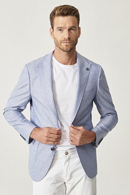 Altınyıldız Classics Erkek Açık Mavi Slim Fit Desenli Ceket