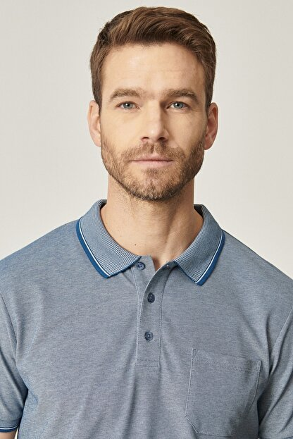 Altınyıldız Classics Erkek INDIGO-BEYAZ Polo Yaka Cepli Regular Fit Bol Kesim Düz Tişört