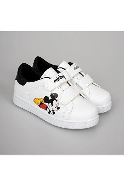 YSRSPOR Unisex Çocuk Beyaz Cırtlı Günlük Spor Ayakkabı