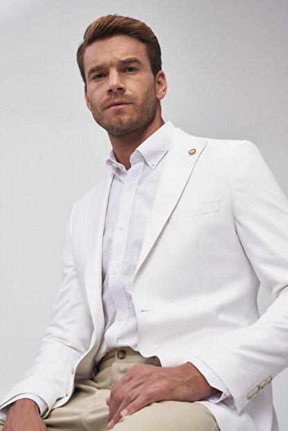 Altınyıldız Classics Erkek Beyaz Slim Fit Ceket