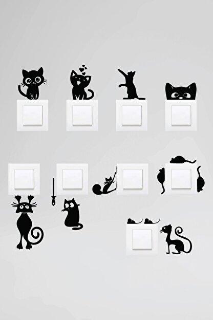 Dijitalya Priz Kedi Sticker Set Siyah Etiket  Duvar Sticker