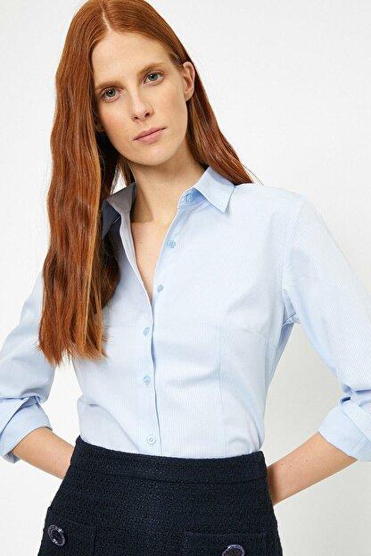 Koton Kadın Mavi Klasik Yaka Gömlek