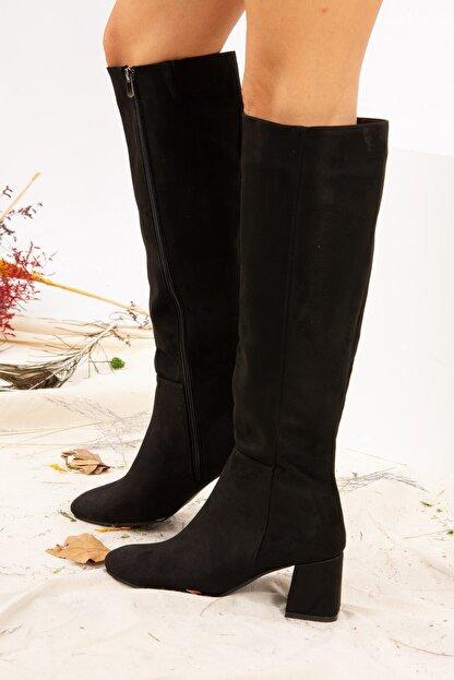 Fox Shoes Siyah Süet Kadın Çizme J518023002