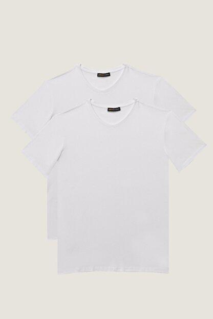 Altınyıldız Classics Erkek Beyaz Slim Fit Dar Kesim V Yaka 2'li Tişört Paketi