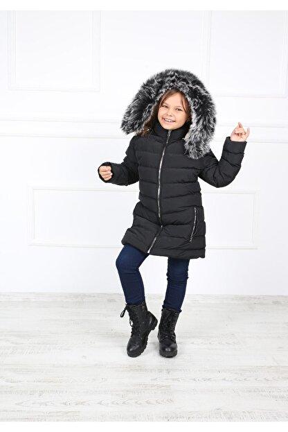 B&T Kız Çocuk Siyah Peluşlu  Kaban Mont
