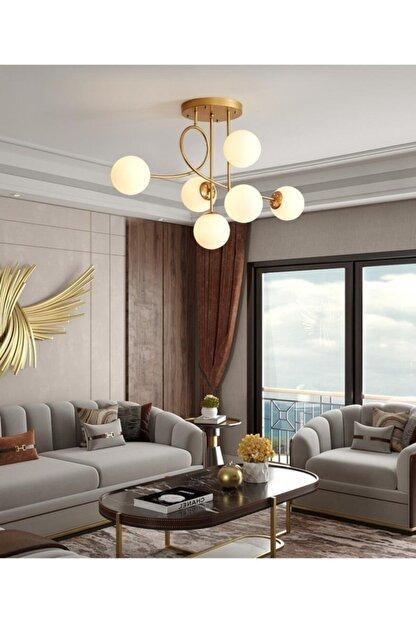 Sinem Avize Vienna Lüks Modern Gold Beyaz Camlı 6'lı Avize