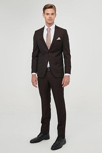 Altınyıldız Classics Erkek Bordo Slim Fit Desenli Nano Takım Elbise