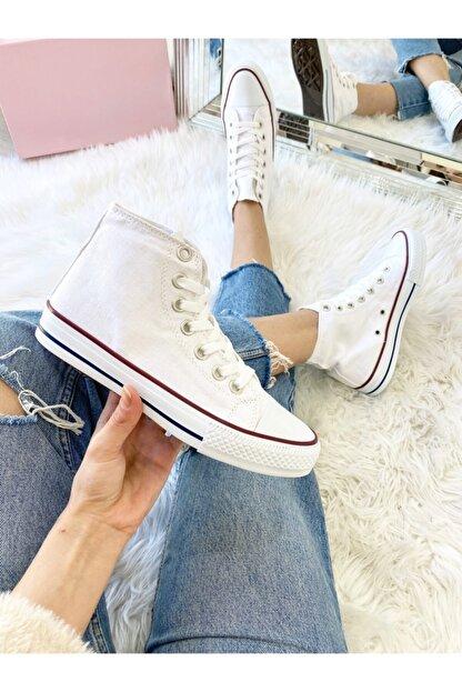 ELSESHOES Unısex Bıleklı Beyaz Spor Ayakkabı