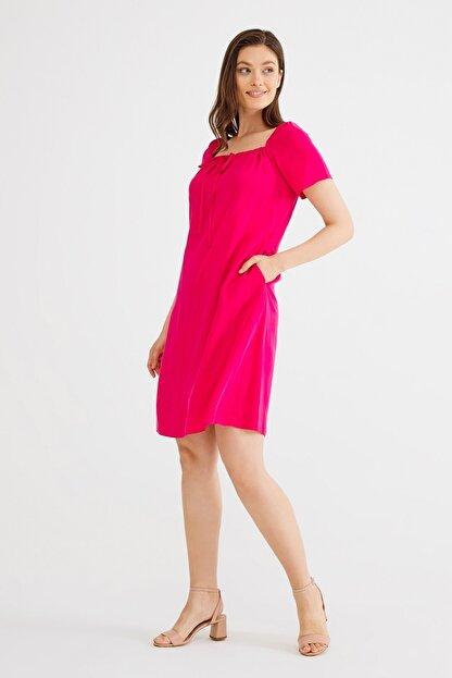 Love My Body Kadın Fusya Kare Yaka Bağcıklı Elbise