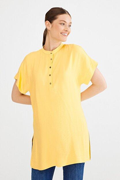 Love My Body Kadın Lime Hakim Yaka Yırtmaçlı Tunik