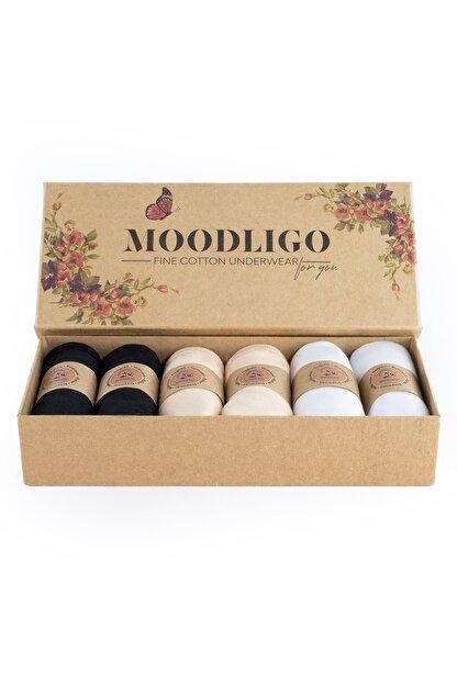 Moodligo Fine Cotton Kadın Basic Slip Külot 6'lı Kutu-2 Siyah 2 Ten 2 Beyaz