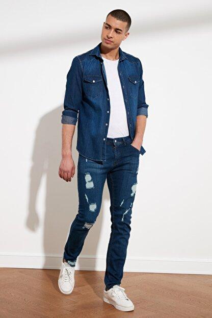 TRENDYOL MAN Indigo Erkek Destroylu Skinny Fit Jeans TMNSS21JE0373