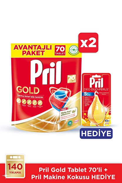 Pril Gold Bulaşık Makinesi Deterjanı, 70 Tablet 2'li Paket +makine Kokusu Hediye