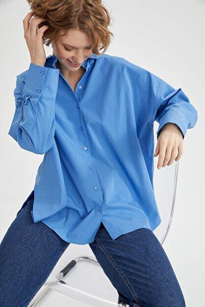 Defacto Kadın Mavi Basic Oversize Pamuklu Gömlek