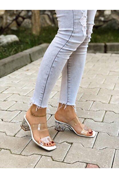 BZC AYAKKABI Kadın Şeffaf Bant Ve Topuk Detay Topuklu Ayakkabı