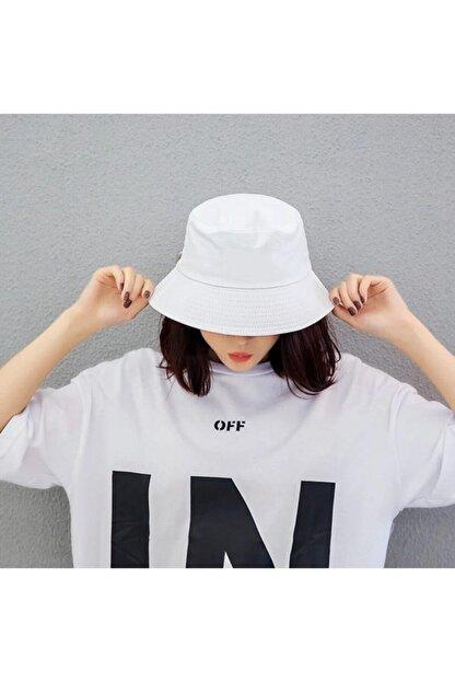 Köstebek Düz Beyaz Kova Şapka Balıkçı Şapka Bucket Hat