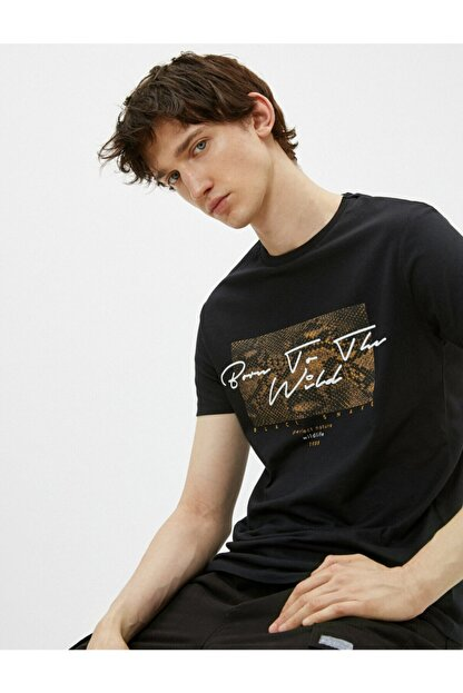 Koton Erkek Siyah Pamuklu Bisiklet Yaka Kısa Kollu Baskılı T-shirt