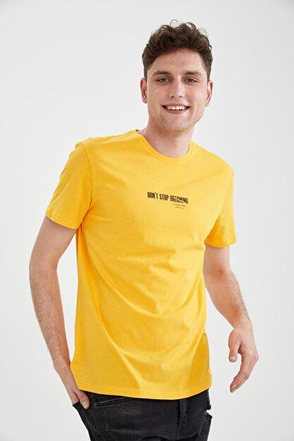Defacto Erkek Sarı Slim Fit Bisiklet Yaka Baskılı T-Shirt