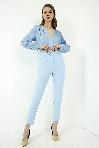 Vis a Vis Kadın Mavi Yüksek Bel Kemerli Pantolon