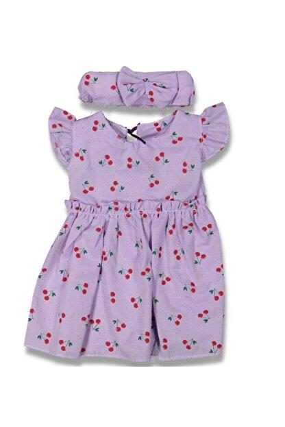 leafstore Kız Çocuk Mor Kiraz Desenli Elbise