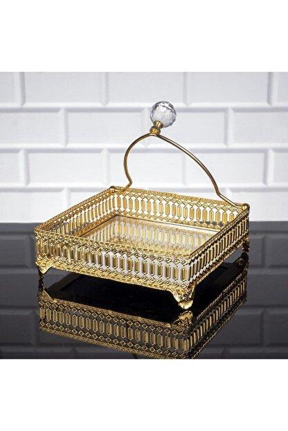 Oyks Inci Kare Peçetelik Gold Renk Peçete Uçurtmaz