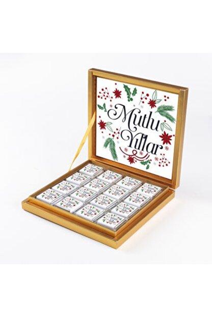 Hacı Şerif Yılbaşı Hediyesi Çikolatası 32 Madlen Çikolata Gold Kutu