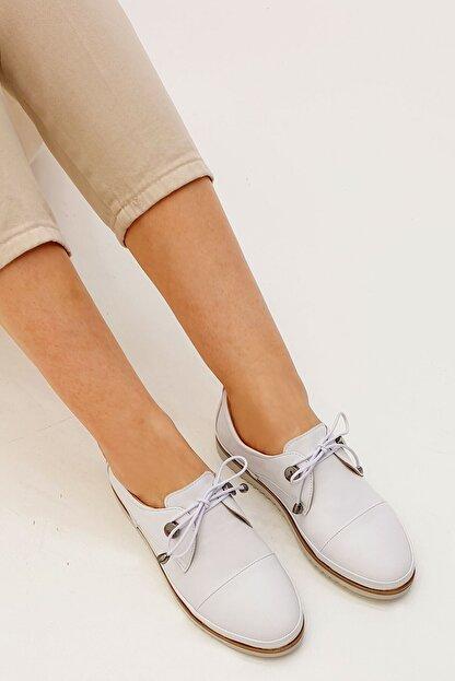 Marjin Kadın Beyaz Hakiki Deri Comfort Ayakkabı Demas