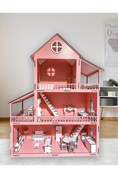 Özçıpa Hediye Pembe Ahşap Barbie Evi 80 cm Eşyalı