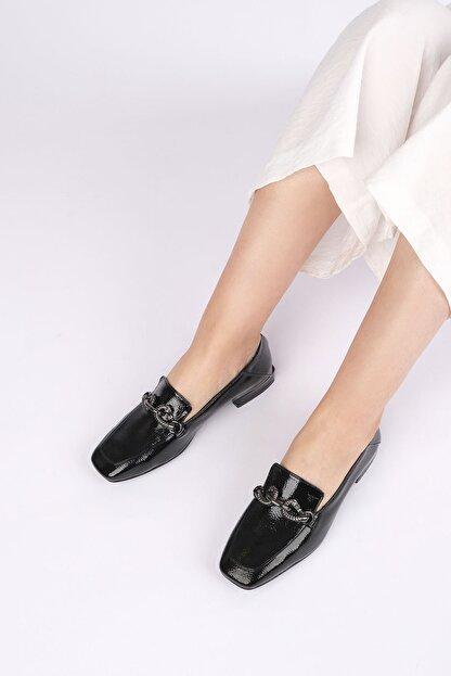 Marjin Kadın Siyah Rugan Loafer Ayakkabı Alva