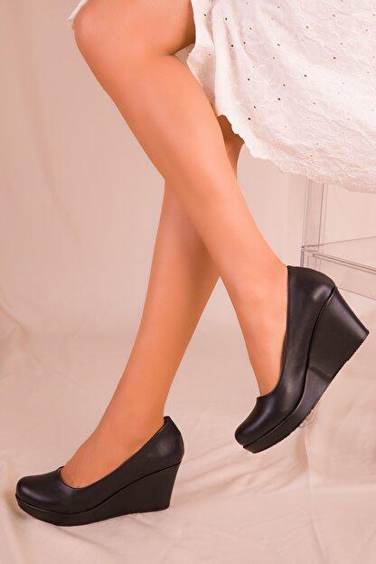 Soho Exclusive Siyah Kadın Dolgu Topuklu Ayakkabı 15849