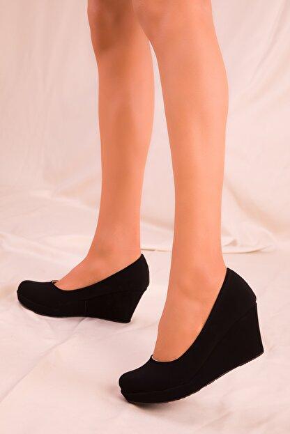 Soho Exclusive Siyah Süet Kadın Dolgu Topuklu Ayakkabı 15849