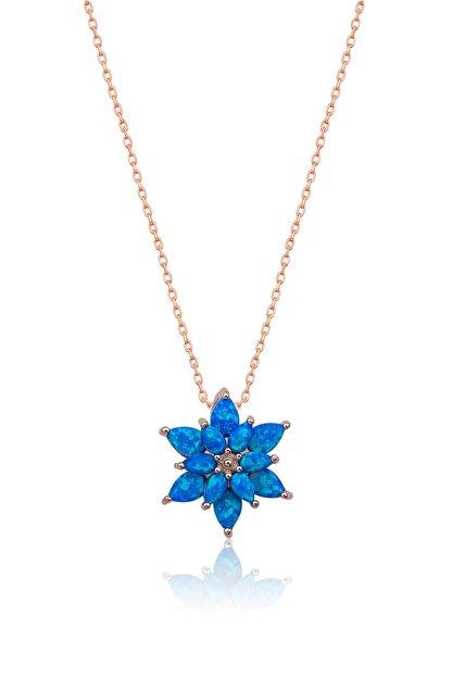 Papatya Silver 925 Ayar Mavi Opal Taşlı Gümüş Lotus Kolye