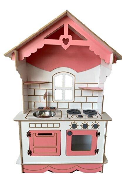 BKM MOBİLYA Dekoratif Doğal Ahşap Eğitici Kız Çocuk Mutfak Seti Pembe